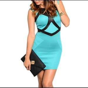 Dresses & Skirts - 🆑 Turquoise and Black Dress 🆑