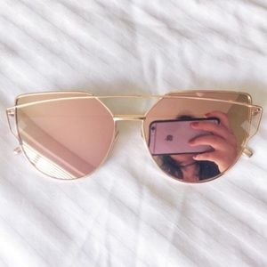 New Rose Gold Mirrored Reflective Sunglasses