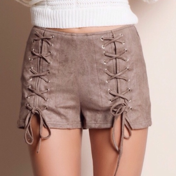 Pants - 🆕Taupe Front Lace Up/Split Faux Suede Shorts
