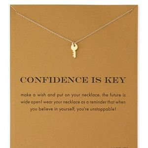 🔑 Confidence is Key Gold dainty pendant necklace