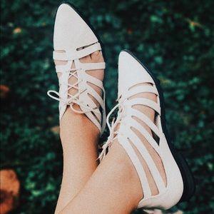 White, Flat, Closed Toe Sandals. 6.5