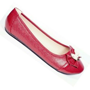 Women Ballet Flats with Bow, b-2045, Red