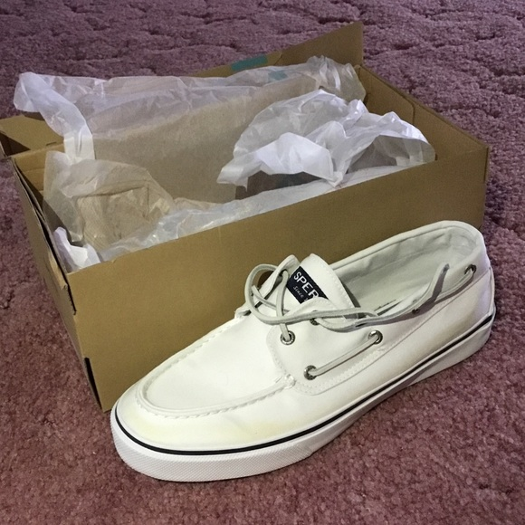 sperry top sider white and navy blue sperry boat shoe