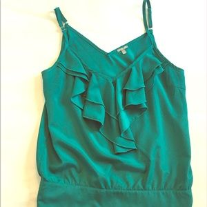 Charlotte Russe Teal Tank Top with Ruffles