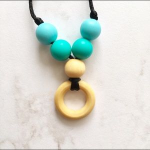 Blue and Turquoise Silicone Wood Teething Necklace