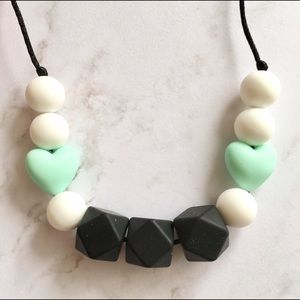 Black White Mint Hearts Silicone Teething Necklace