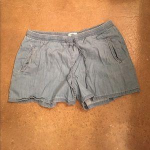 Denim, linen drawstring shorts