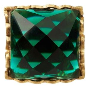 18k Gold Clad Square Emerald Crystal Ring