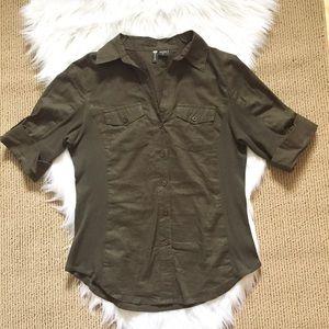 Passport Tops - Olive Green Safari Button Up Shirt