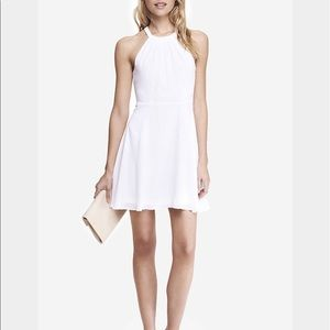 Express White Fit and Flare Halter Dress