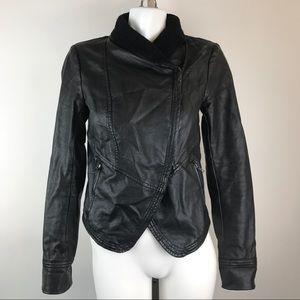 Free People Jackets & Blazers - Free People Faux Leather Moto Jacket Cotton Lapel