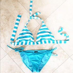 Turquoise and white stripe bikini
