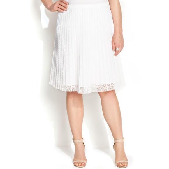 4342873d11 Calvin Klein Skirts | White Mesh Pleated Holiday Skirt | Poshmark