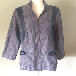 XCVI Jackets & Blazers - XCVI NWT linen and cotton blend zip front jacket