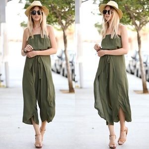 MICAH off shoulder Flutter Jumpsuit - OLIVE