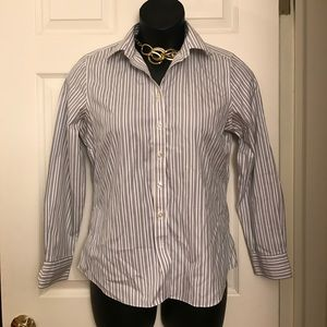 Lands end no iron button up long sleeved top