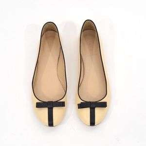J.Crew black bow leather ballet flats
