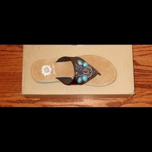 Yellow Box Shoes - New Yellow Box sandals 6 Morisa Pewter Turquoise