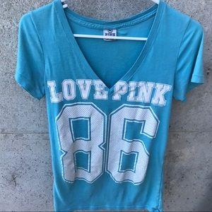 Victoria's Secret Pink V neck blue & white Tee!
