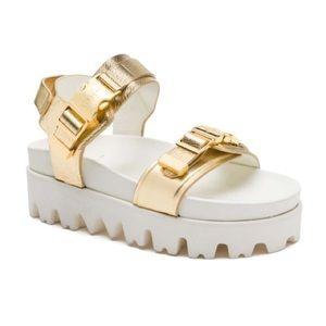 Buscemi Shoes - BUSCEMI gold buckled platform sandals, Size 8