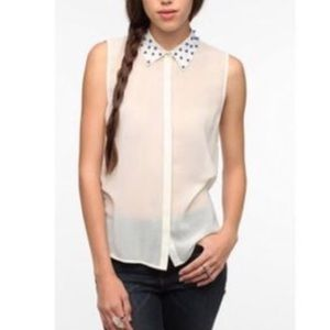 Sparkle & Fade studded collar Blouse white