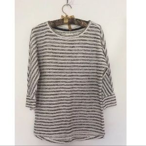 Lou & Grey Black White Striped Casual Sweater XS
