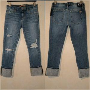 Joe's Jeans Denim - Joe's Cuff Crop Destructed Jeans in Tara