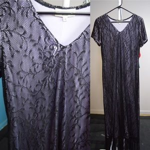 Elegant floor length, black lace gown