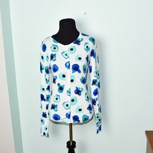 Lord & Taylor Sweaters - Lord & Taylor Blue Floral Print Cardigan