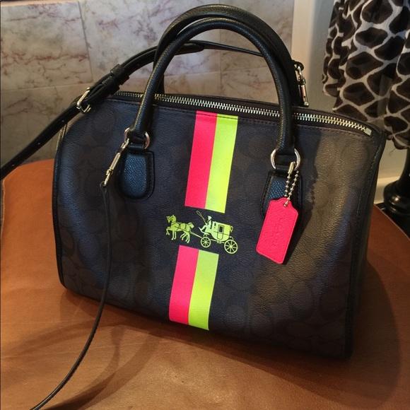 8860f9b49632 Coach Handbags - Coach Satchel with Neon Stripes