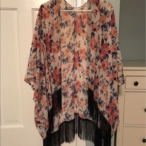 Other - Floral shawl with fringe