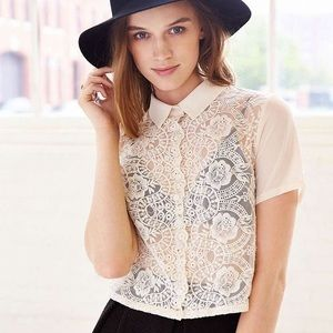 Cooperative cream lace button up crop top