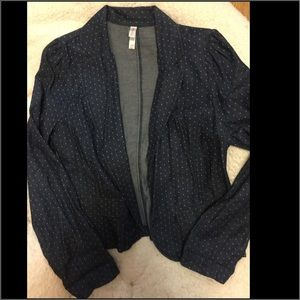 XHILARATION cotton polka dot blazer EUC
