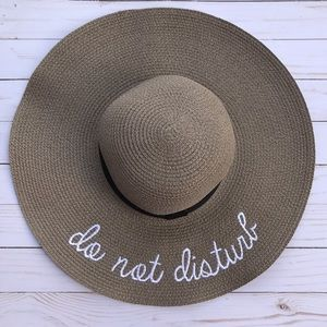 Accessories - Adjustable Taupe Embroidered Sun Hat