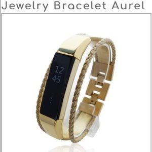 833d5ffdd2f6 FitJewels Jewelry - Fitbit Alta HR Bracelet AUREL - Gold -leather ss