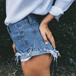 High Waisted Dark Blue Denim Shorts