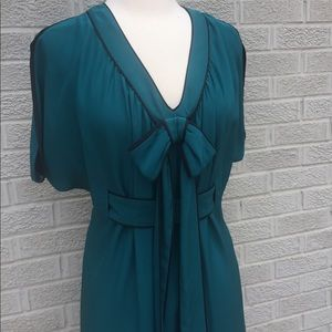 Dresses & Skirts - Silk Teal Bow Front Dress with Belt