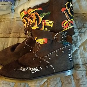 Ed Hardy Shoes - Ed Hardy suede boots