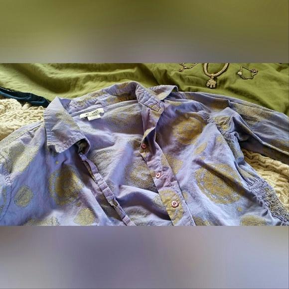 At Last Tops - Purple and Gold Mandala Print Shirt