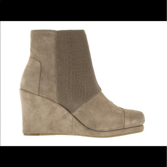 34 toms shoes toms croc desert wedge bootie boot