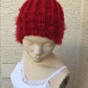 Red Sparkle Knit Cap ❄️