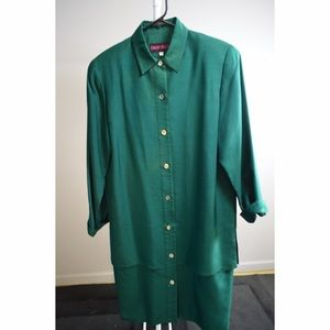 Vintage!!! Green down button dress