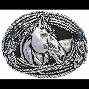 Stetson Accessories - Stetson German Plated Silver Horse Belt Buckle