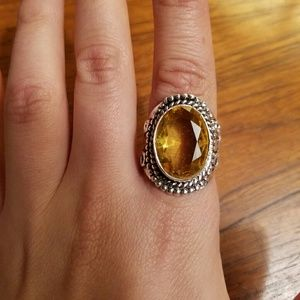 NWOT Sterling Silver Yellow Citrine Ring