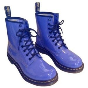 Dr. Marten's periwinkle patent leather boots