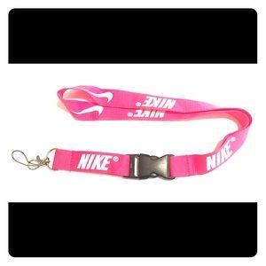 New Nike Lanyard ID Badge Holder Pink & White