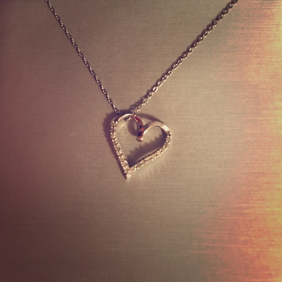 Zales sterling silver and diamond heart necklace from for Where is zales jewelry