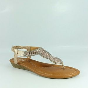 NEW Rose Gold Bling Sandals Flip Flops Flats