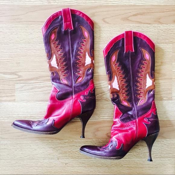 💯Dolce & Gabbana Runway Leather Cowboy Boots