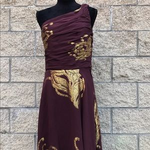 Banana Republic One Shoulder Metallic Formal Dress